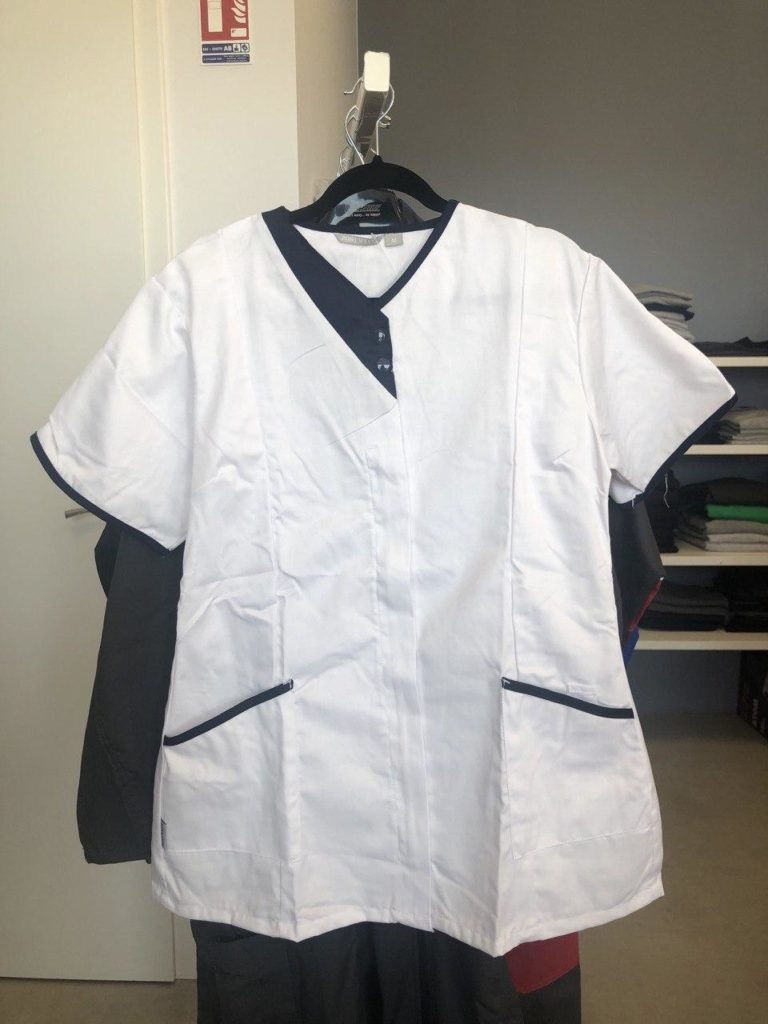 blouse de travail femme manches courtes bleu et blanche