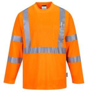 t-shirt de travail haute visibilité manches longues orange fluo