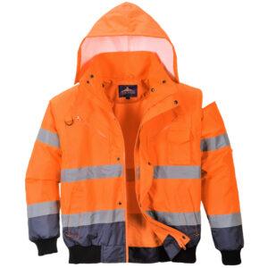 vetements de travail portwest blouson haute visibilite c465 orange marine 1 scaled