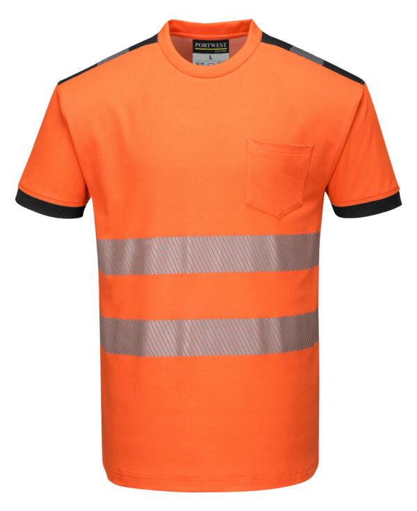 vetements de travail portwest tshirt haute visibilite t181 orange noir 1 scaled