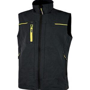 vetements de travail upower veste sans manches saturn noir jaune